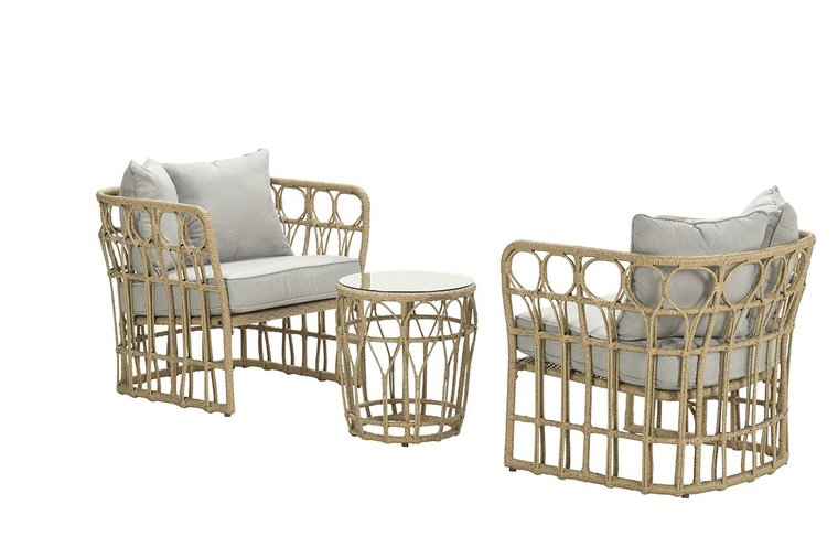 Garden Impressions Colonial loungeset 3-delig - natural rotan/ sand