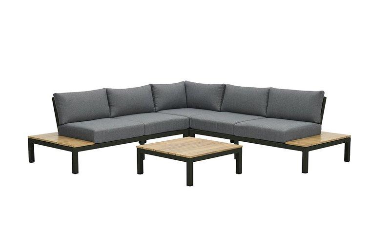 Garden Impressions Antoinette lounge set 4-delig - teak look - carbon black/ mystic grey