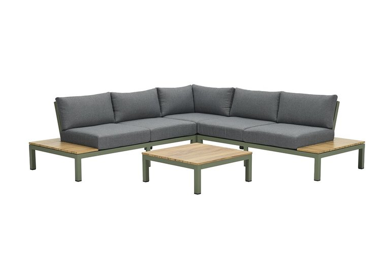 Garden Impressions Antoinette lounge set 4-delig - teak look - moss green/ mystic grey